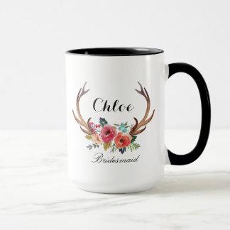 Floral Deer Horn Bridesmaid Mug