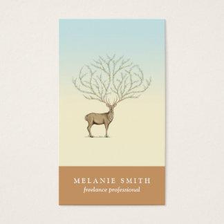Floral Deer illustration antlers artistic card
