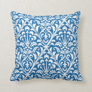 Floral Delft Blue and White Throw Pillow