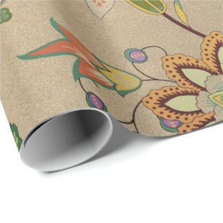 Floral Delicate Oriental Garden Gold Kraft Cali Wrapping Paper