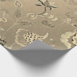 Floral Delicate Oriental Garden Gold Sepia Foxier Wrapping Paper
