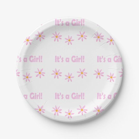 Floral Delicate Pink It's A Girl 7 Inch Paper Plate