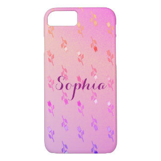 Floral Delicate Romantic Pink Neon Personalized Case-Mate iPhone Case