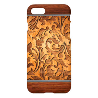 Floral Design Carved Wood texture Silver Accent iPhone 7 Case