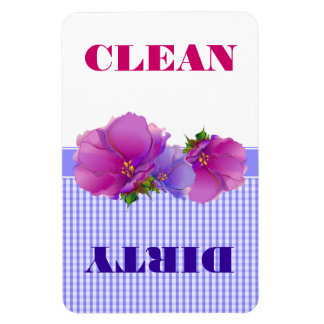 Floral design Clean or Dirty Dishwasher Magnets