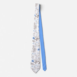 Floral design in blue and brown tie