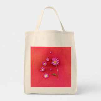 Floral Design on Red Background Tote Bag