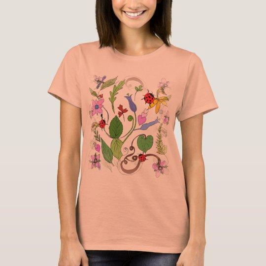 Floral Design on Women's T-Shirt