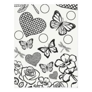 Floral design postcard color your own