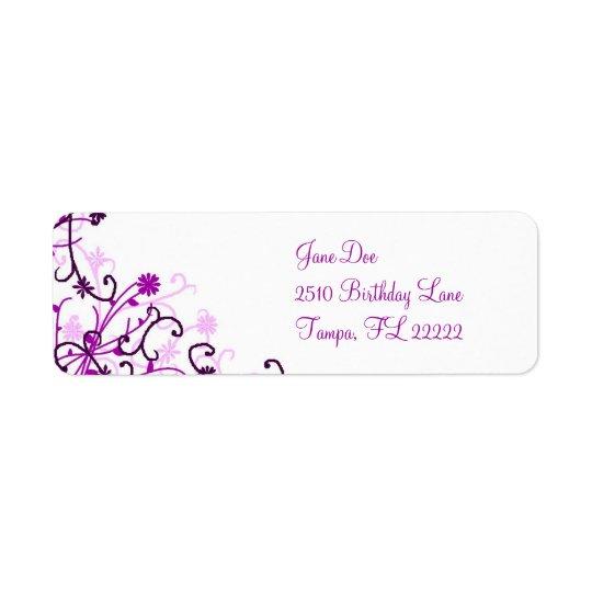Floral design return address label