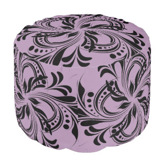 Floral Design  Sturdy Spun Polyester Round Pouf