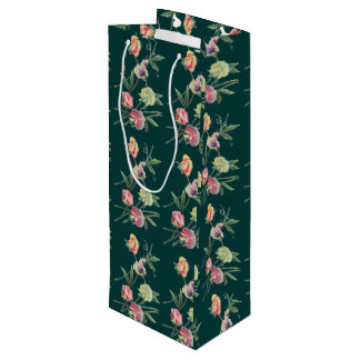 Floral Design Sweet Pea Wine Gift Bag