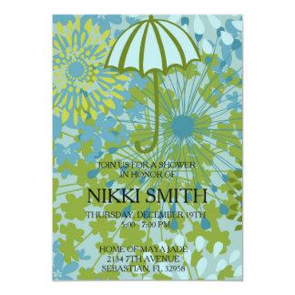 Floral Design Umbrella Baby Shower Invitation. Card