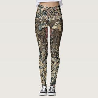 Floral design, vintage tapestry, sophisticated leggings