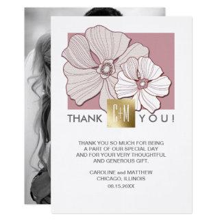Floral Design Wedding Thank You Custom Photo Cards