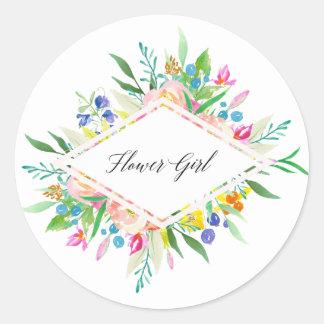 Floral Diamond Flower Girl Sticker
