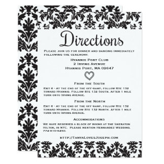 """Floral Directions / Details Black And White Damask 5"""" X 7"""" Invitation Card"""