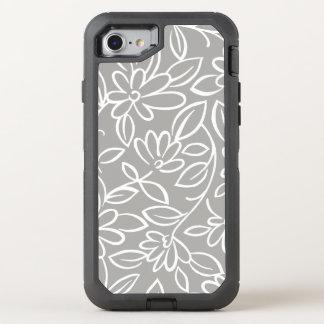 Floral doodle pattern overlay - you choose color OtterBox defender iPhone 8/7 case