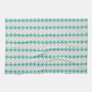 Floral Doodles in Turquoise and Gray Pattern Kitchen Towel