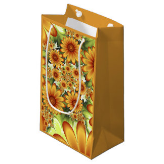 Floral Dream, Modern Abstract Flower Fractal Art Small Gift Bag