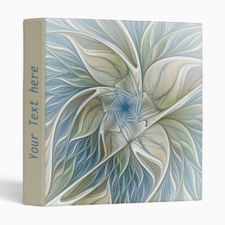 Floral Dream Pattern Abstract Blue Khaki Fractal 3 Ring Binder