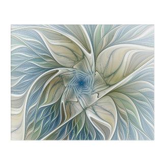 Floral Dream Pattern Abstract Blue Khaki Fractal Acrylic Wall Art