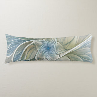 Floral Dream Pattern Abstract Blue Khaki Fractal Body Pillow