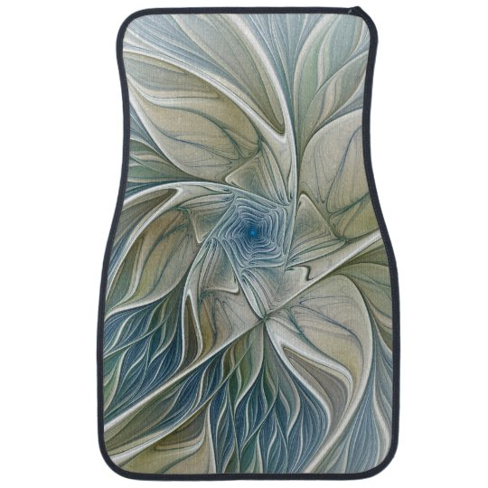 Floral Dream Pattern Abstract Blue Khaki Fractal Car Floor Carpet