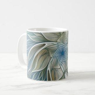 Floral Dream Pattern Abstract Blue Khaki Fractal Coffee Mug