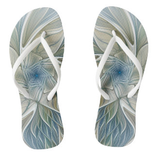 Floral Dream Pattern Abstract Blue Khaki Fractal Flip Flops