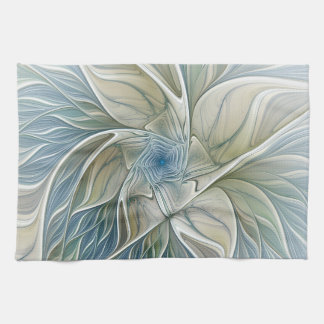 Floral Dream Pattern Abstract Blue Khaki Fractal Kitchen Towel