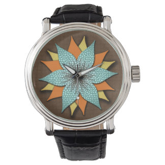 Floral Earth Tones Vintage Leather Strap Watch