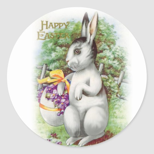 Floral Easter Bunny Classic Round Sticker