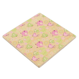 Floral Easter Chicks Maple Wood Coaster