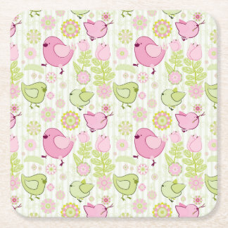 Floral Easter Chicks Square Paper Coaster