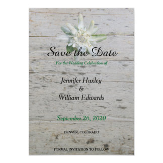 Floral Edelweiss alpine flower Barn wood Wedding Card