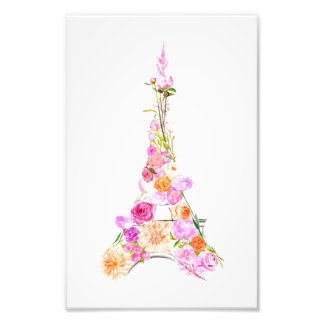 Floral eiffel tower photo print