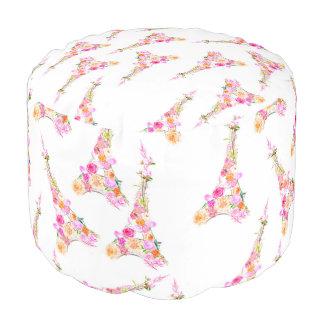 Floral eiffel tower pouf