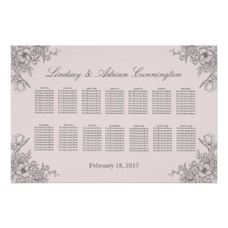Floral Elegance Wedding Seating Chart Poster