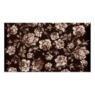 Floral élégant vintage de B&w de ton chic à la mod Carte De Visite