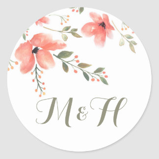 Floral Elegant Wedding Stickers-Watercolor Flowers Round Sticker