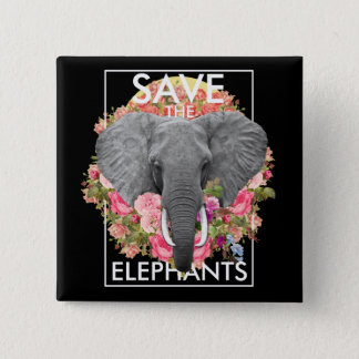 Floral Elephant 2 Inch Square Button