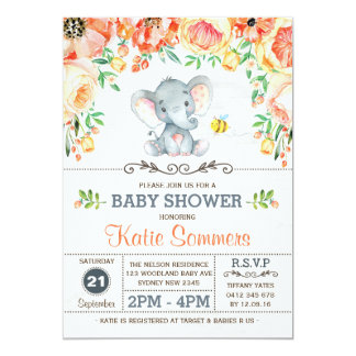 Floral Elephant Baby Shower Autumn Fall Invitation