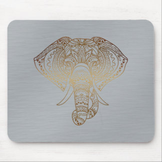 Floral Elephant Gold Silver Tribal Office Gift Mouse Pad