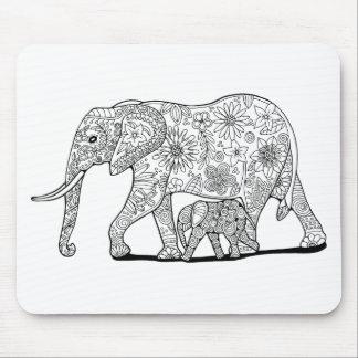 Floral Elephants Line Art Design Mouse Pad