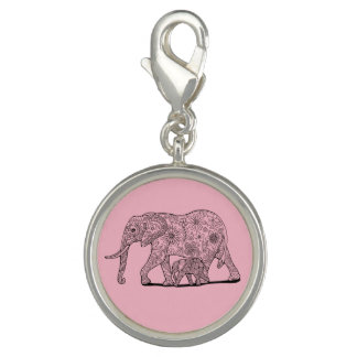 Floral Elephants Lineart Design Charms