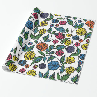 Floral embroidery wrapping paper