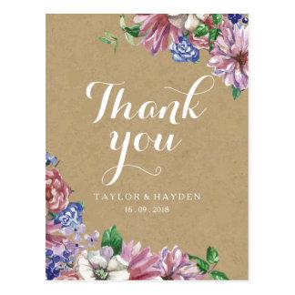 Floral en carte postale de Merci de mariage