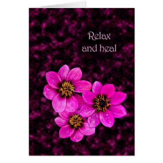 Floral encouragement saying relax and heal card