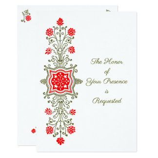 Floral Etching in Red and Golds Wedding Invitation
